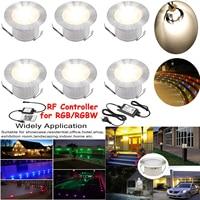 6pcs/Lots 45mm(1.8inches)Diameter Round Stainless Steel Led Deck Light for Garden Building Villa Bridge Underground Lamp DC12V