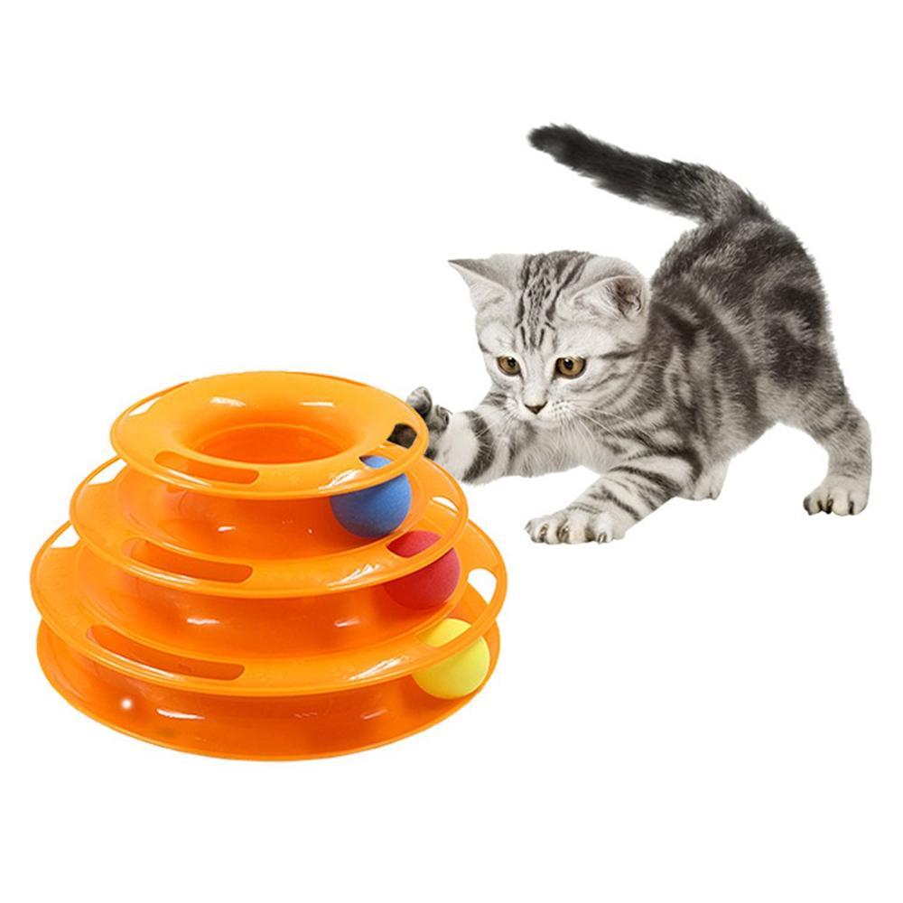 Juguete educativo para gatos, mesa giratoria de tres capas, Torre Orbital de forma redonda, bandeja de juguete para gatos divertida, juegos de entretenimiento para mascotas