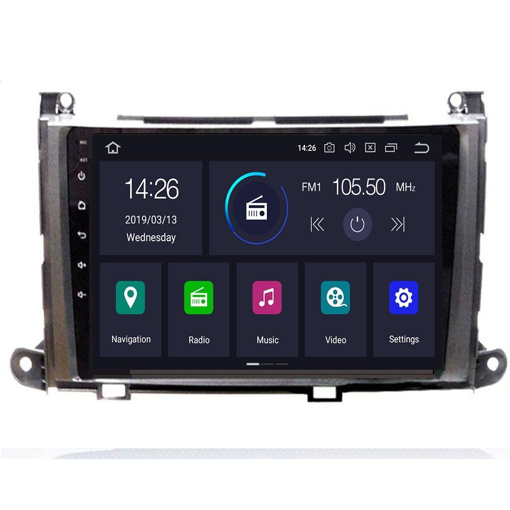 Reprodutor de dvd dos multimédios do carro do núcleo de px5 android 10 qcta para a navegação de fm do gps bt swc de wifi de 4g ram 64g de toyota sienna 2010-2014