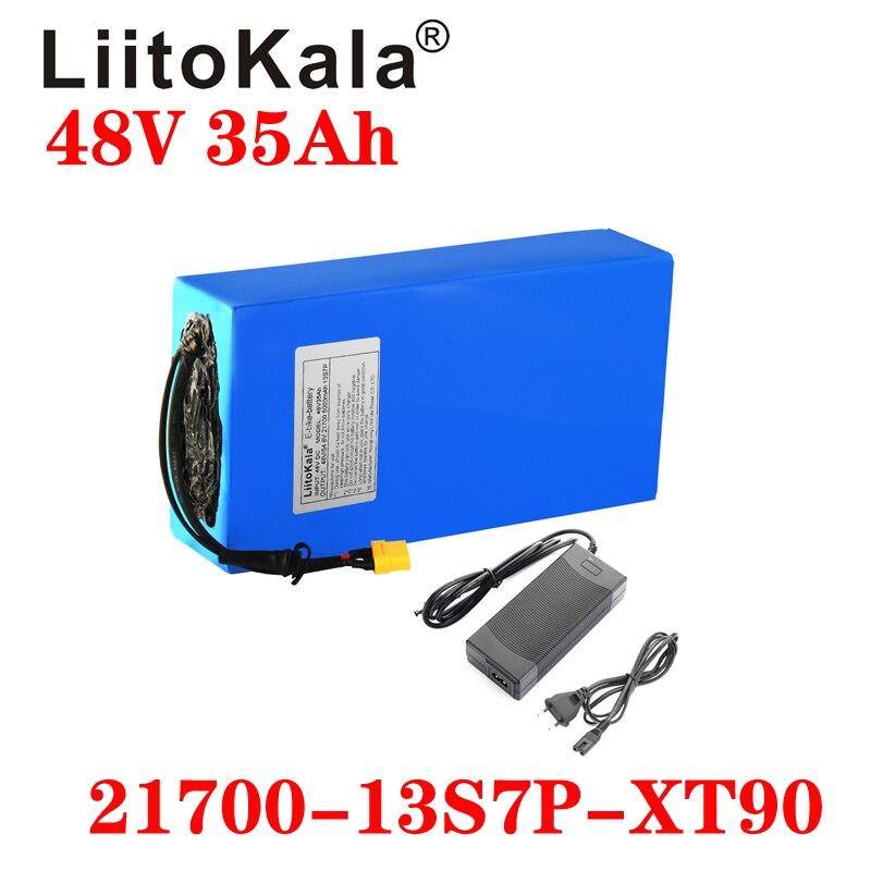LiitoKala 48 فولت 35ah 21700 13S7P بطارية دراجة كهربائية 48 فولت 35AH 1000 واط بطارية ليثيوم المدمج في 20A BMS دراجات كهربائية المحرك
