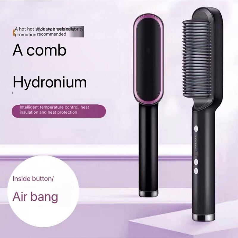2017 hot sale straight hair comb professional artifacts 3 color 2 plugs electric straight hair fashion beauty styling tools use 2 IN 1PTC heating straight hair brush hair electric comb brush ceramic straight curler five modes adjustment styling tool