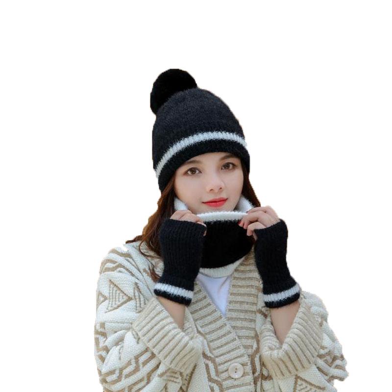 Комплект из 3 предметов, шапка, шарф, перчатки, женская вязаная крючком шапка, меховая, плотная трикотажная кепка, зимняя шапка, Женская плюше...