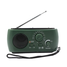Радиоприемник Многофункциональный Am / Fm Динамо Солнечная радио Мощный Кривошип генератор зарядное устройство зеленый