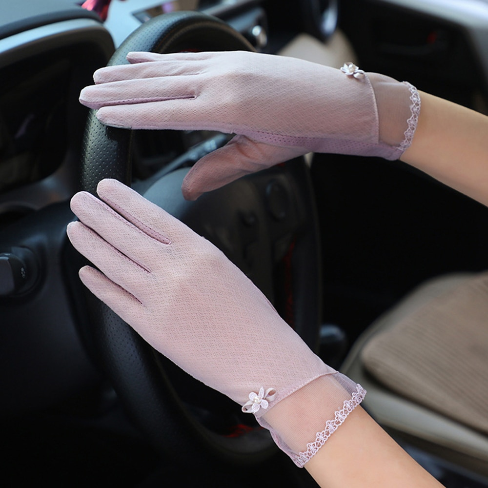 Guantes antideslizantes de protección solar para dedos completos, nuevos productos, guantes elásticos para mujer con pantalla táctil, mitones guante transpirable para mujer