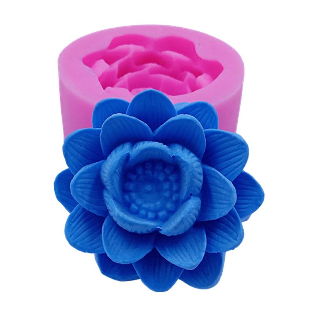 Molde de silicona 3D de diseño de loto para hacer velas decoración de moldes de cera de artesanías de resina de yeso