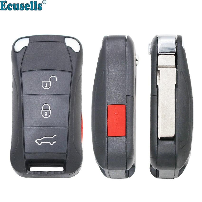 3+Panic 4 Buttons Flip Remote Key Shell case fob for Porsche Cayenne uncut HU66 blade