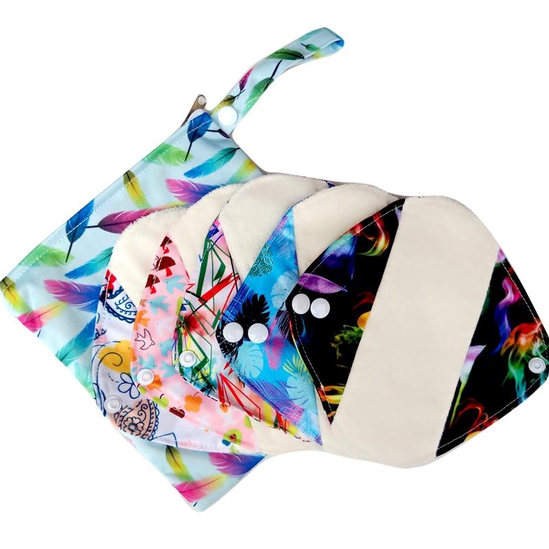 Envío Gratis, forro de panty reutilizable de 5 uds con 1 bolsa húmeda, toallas sanitarias de tela impermeables, almohadilla menstrual con interior de bambú orgánico