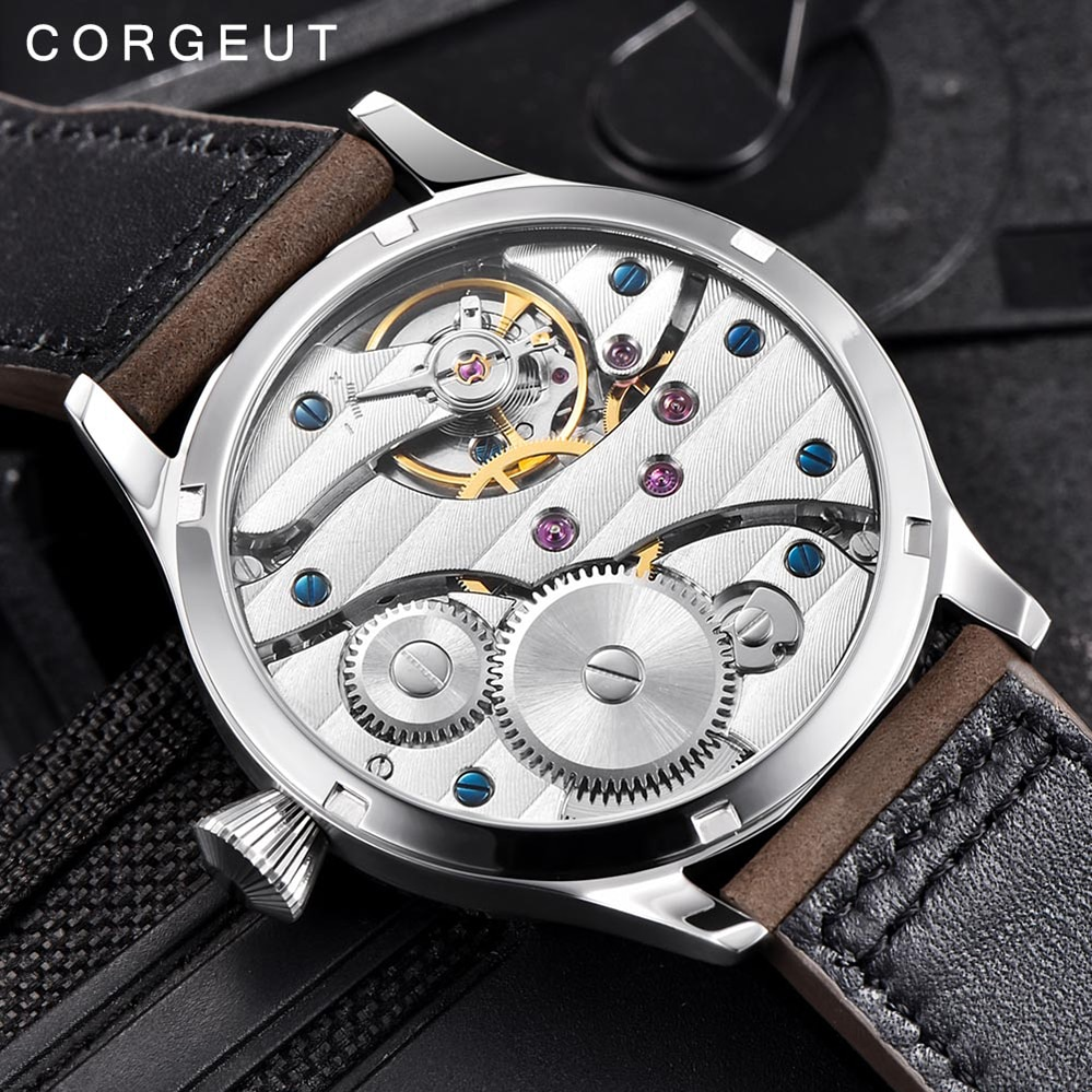 Fashion Leather Top Luminous Mechanical Hand Winding Men Watch 17 Jewels ST3600 Seagull 6497 Movement Sport Wristwatch enlarge