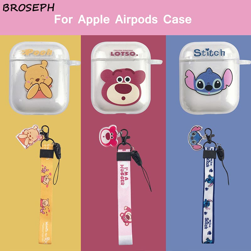 Funda de silicona para Airpords 2 1 bonito dibujo animado Pooh Stitch funda protectora para Apple air pod funda accesorios con correa Anti-pérdida