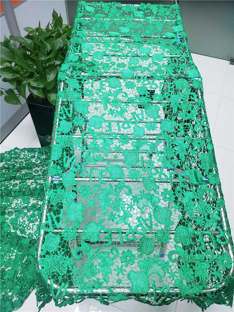 Ofertas da fábrica mais recente de alta qualidade luxo apple design africano guipure cabo renda tecido para vestidos festa em verde