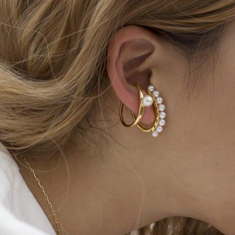 Pendientes de perlas de imitación sencillos a la moda de 8 estaciones con forma de C, pendientes sin agujeros para las orejas, pendientes de Treny para mujer, joyería