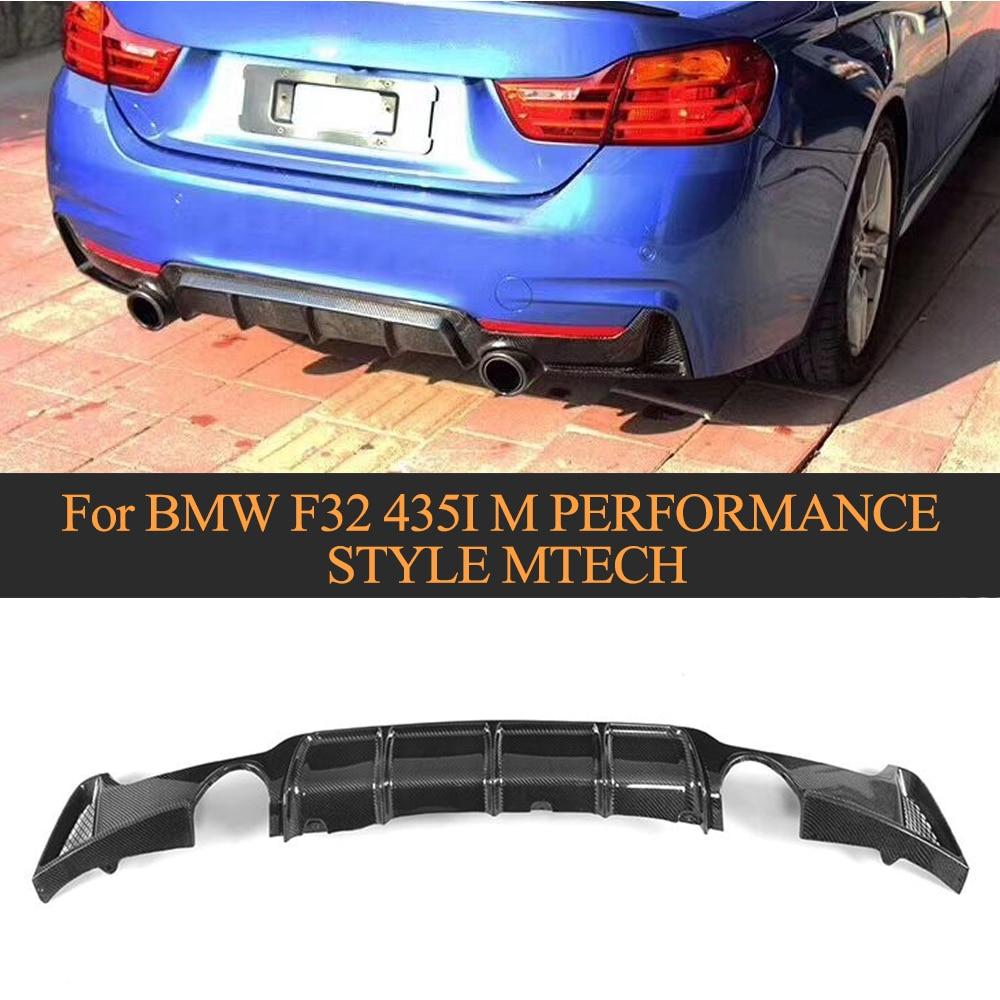 Car Carbon Fiber Rear Bumper Diffuser Lip for BMW F32 F33 M Sport 2014 - 2017 435i Bumper Lip Spoiler 2Side 1Outlet Non Standard