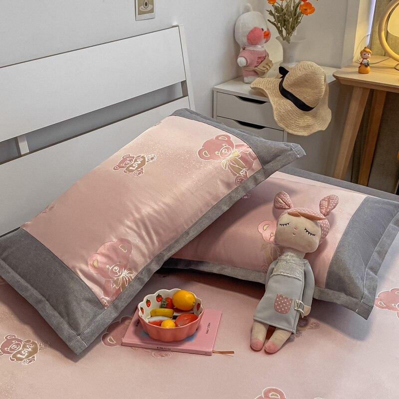 Ins الصيف الجليد غطاء وسادة من الحرير زوج من الكرتون الأطفال وسادة واحدة الأساسية بطانة الأطفال كيس وسادة 48x74