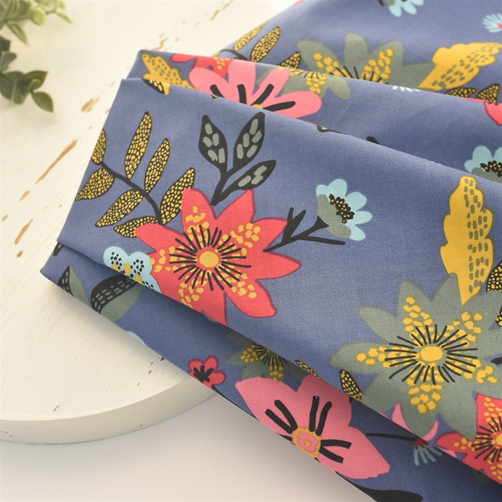 145x50cm Cotton Peony Flower Fabric Making Clothes Dress Pajamas Children's Clothing Handmade DIY Cloth 140g/m