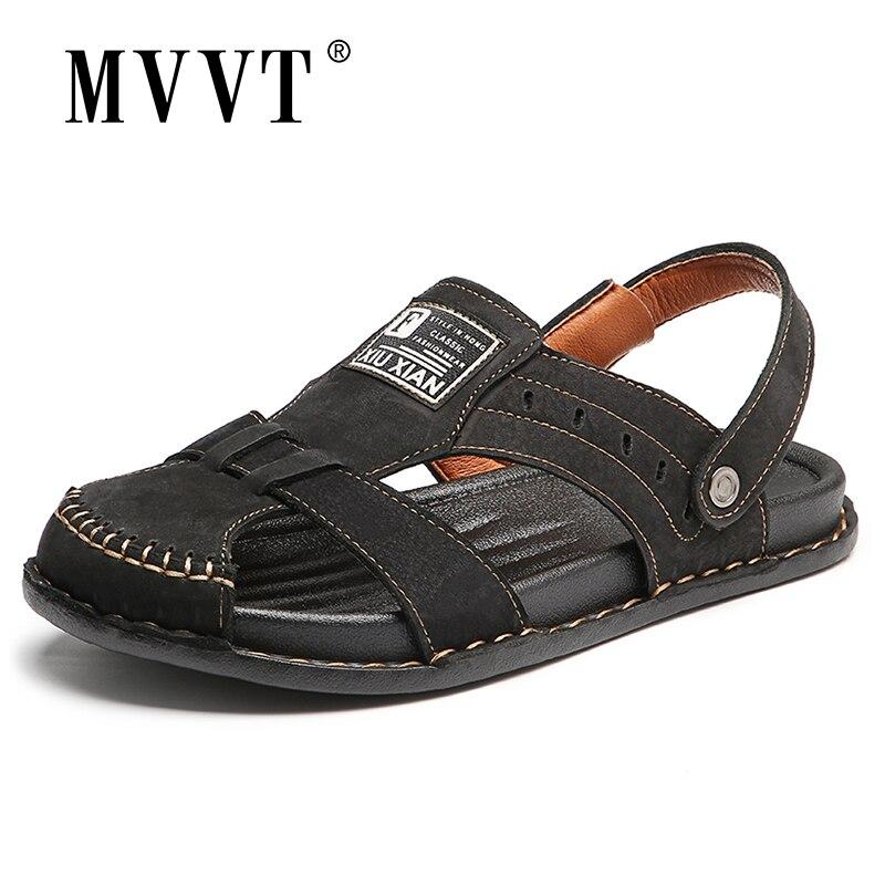 حجم كبير جلد البقر الرجال الصنادل Sandalias جلد الرجال أحذية الصيف الكلاسيكية الراحة صنادل شاطئ حذاء رجالي ملبوس القدم جوفاء