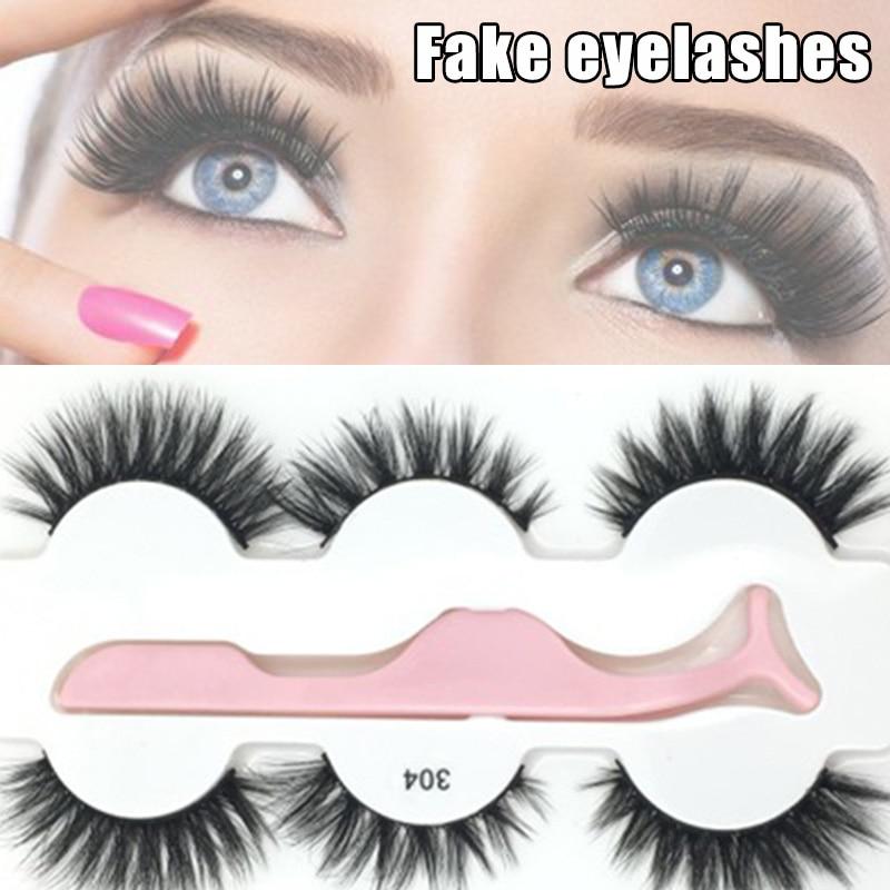 Hot 3D Fake Eyelashes Long Nature Fluffy Volume Crisscross Wispies Soft False Lashes 3 Pairs/set with Tweezers t6