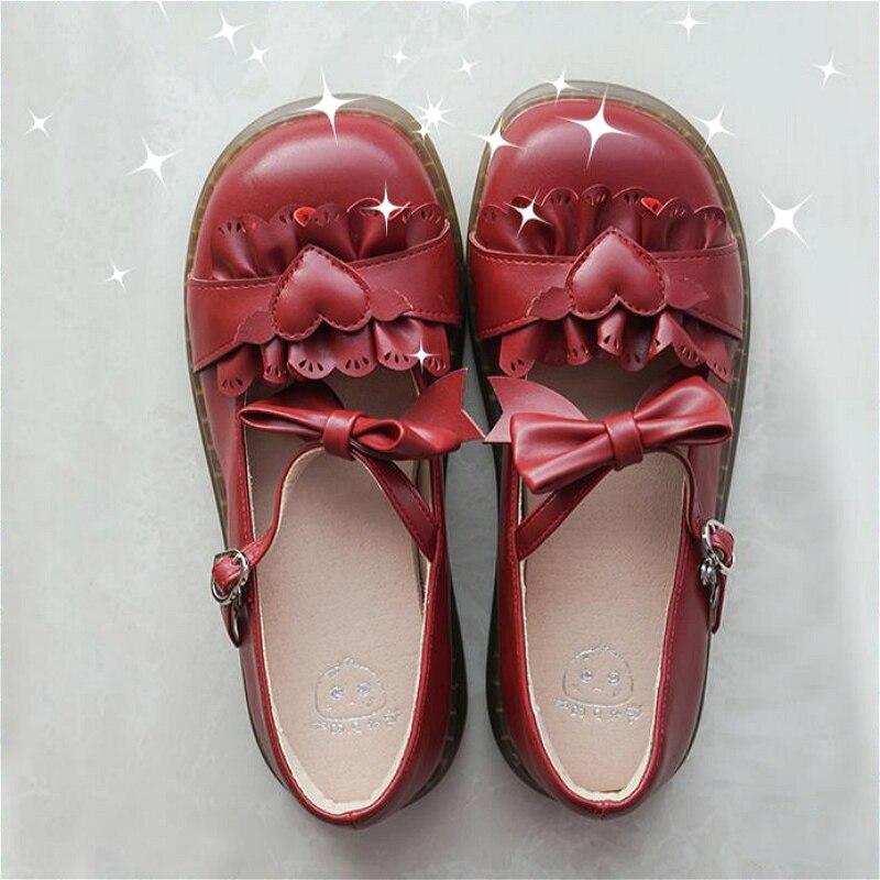 حذاء لوليتا ياباني ناعم للنساء ، مع ربطة عنق ، نمط Kawaii ، رأس دائري عتيق ، مريح