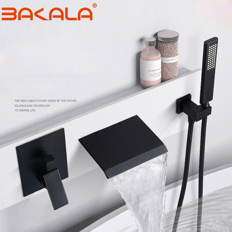 Brass Black Shower Set Bathroom Faucet Wall Mounted Rainfall Shower Head Diverter Mixer Handheld Spray Set bathroom faucet bakala bathroom led shower set 2 functions led digital display shower mixer concealed shower faucet 8 inch rainfall shower head