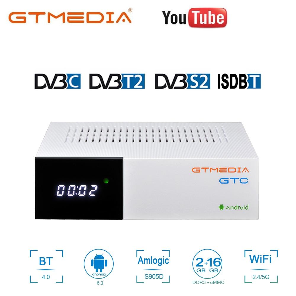 GTMedia GTC 4K Android tv box 6,0 DVB-S2 DVB-T2 dvb-c isdbt receptor Bluetooth receptor de tv por satélite grabadora Digital