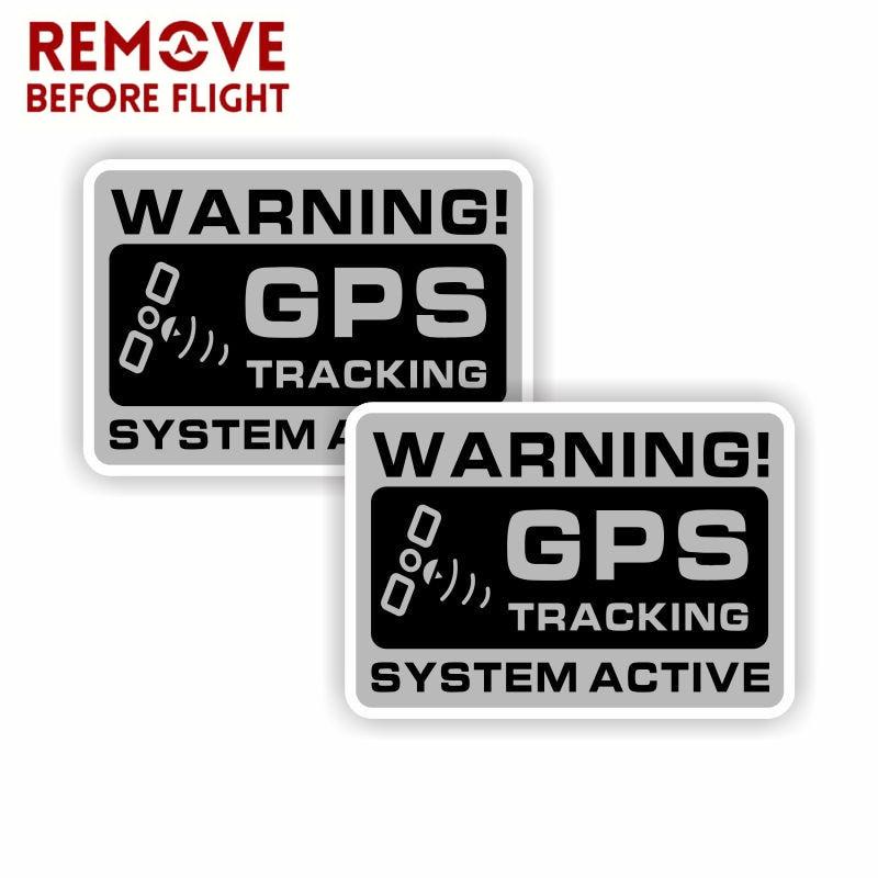 1 Pair Mini GPS Vehicle Car Alarm Security Caution Warning Decal Sticker