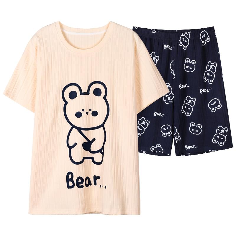 Sleep Wear Mens Lounge Wear Texture Fabric Cotton Pajama Men Nightwear Cute Bear Printing Summer Sho