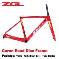 zgl 700c carbon road frame disc brake bicycle frame with crf36 fork bowl set tube holder 4 colors road racing bike frame