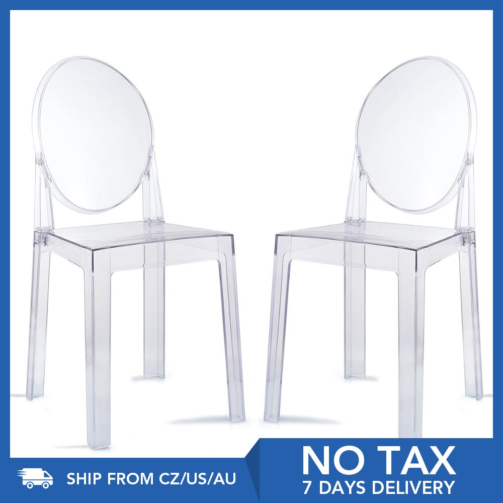 2PCS Dining chair CLEAR GHOST TRANSPARENT MODERN PLASTIC DINING CHAIR / VANITY DRESSING CHAIR