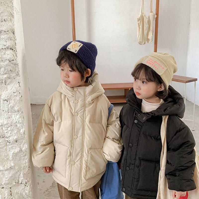 الأطفال عادية الأبيض بطة أسفل سترة 2021 جديد الشتاء الاطفال سميكة الدافئة معطف مقنع طفل بنين بنات موضة الصلبة ملابس خارجية 1-6Y