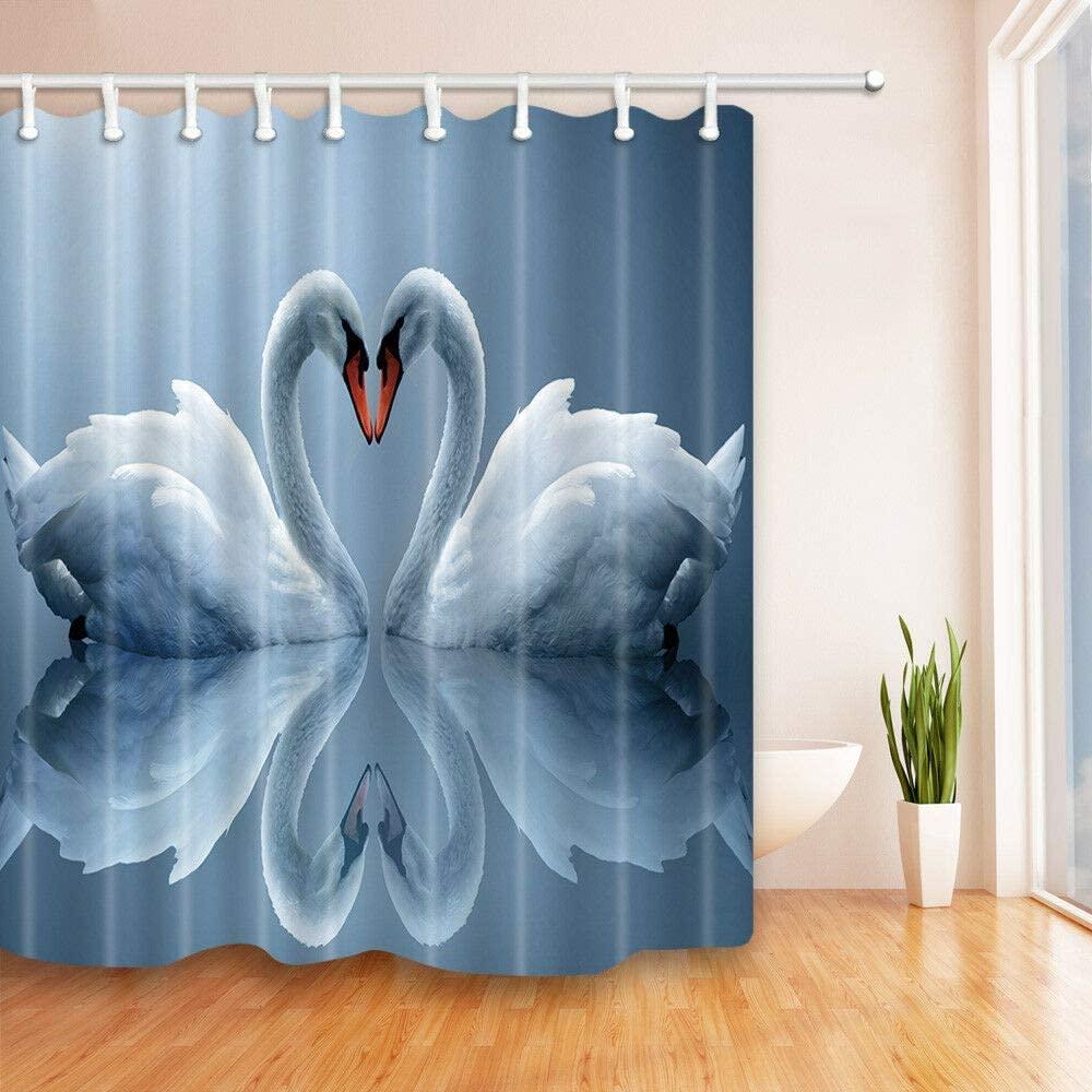 Cortina de Ducha Decorativa con diseño de Cisne de Dos Amores de...