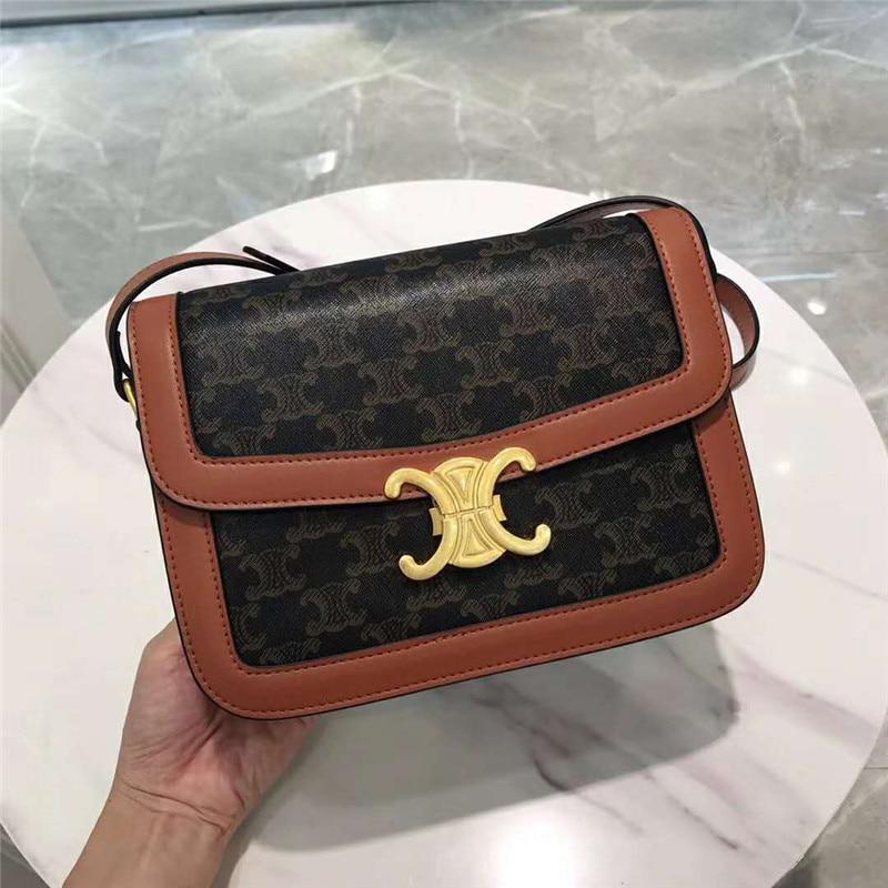 Botón dorado, arco triumpal, patrón antiguo, bolso cuadrado pequeño, caja de cuero retro, bandolera, bolso de mujer, bolso de hombro bajo el brazo
