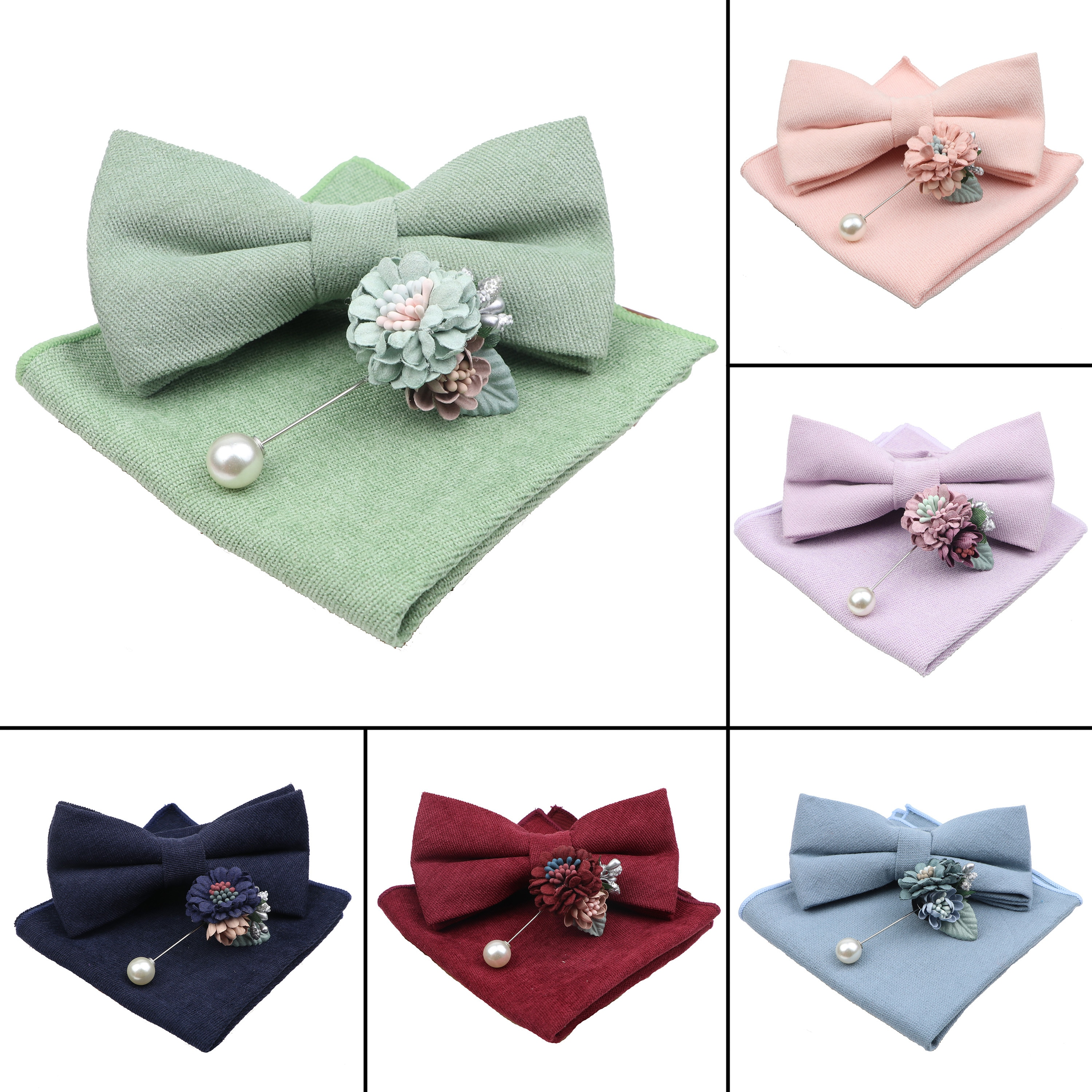 Solid Color Super Soft Suede Men Cotton Bow Tie Handkerchief Brooch Set Bowtie Bowknot Pink Blue Butterfly Wedding Novelty Gift