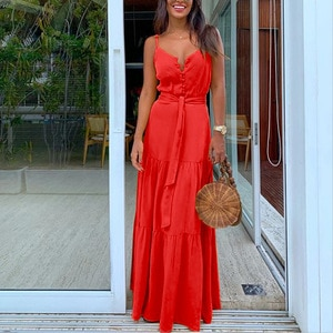 Summer New Women Solid Color Sexy Sling Dress Casual Loose Waist Sleeveless Strapless V-neck Ladies Holiday Party Dresses