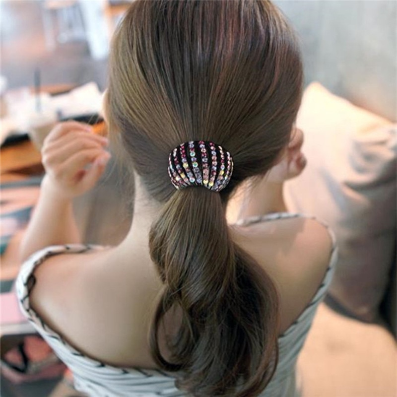 Mulheres Chignon Sintético Extensões de Cabelo Clipe Garra Do Cabelo de Cristal Elástica Rabo de Cavalo Titular Acessórios Para o Cabelo