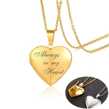 Romantique coeur médaillon pendentifs pour femmes hommes peut être ouvert cadre Photo brillant en acier inoxydable colliers famille amour cadeaux