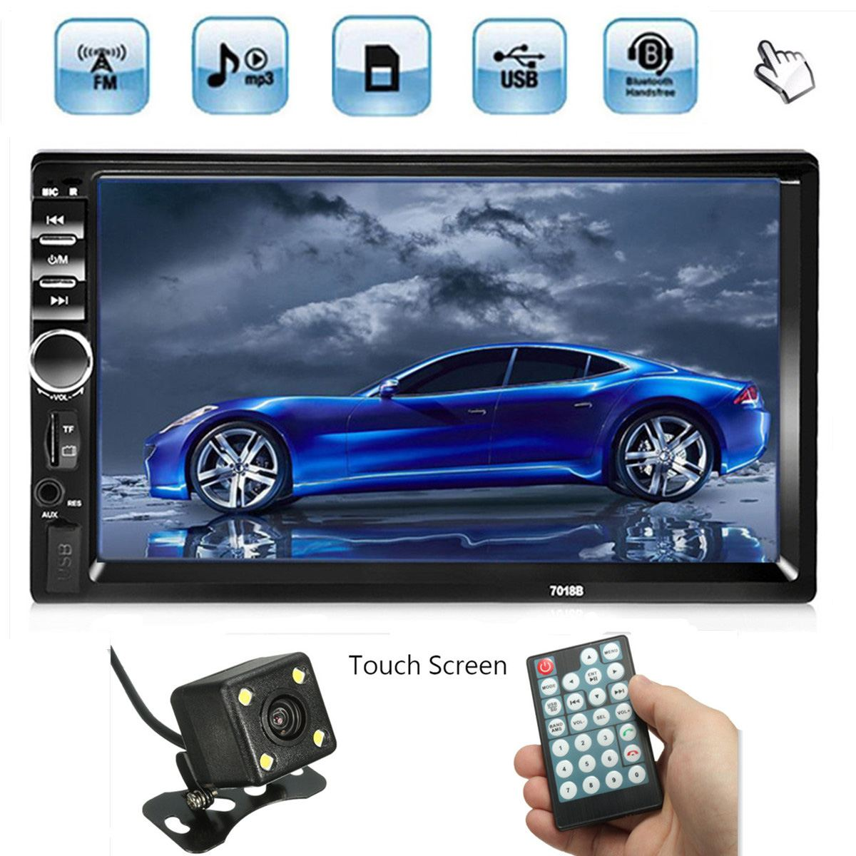 "Pantalla táctil HD de 7 "", bluetooth, reproductor de MP5 2 Din para coche con Radio ESTÉREO FM, AUX, USB SD, con cámara de visión trasera y mando a distancia"