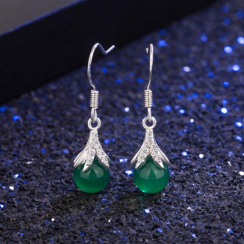 Pendiente de piedras preciosas S925 joyería de Esmeralda pura plata fina Bizuteria Jade plata 925 joyería piedras preciosas pendientes de gota mujeres