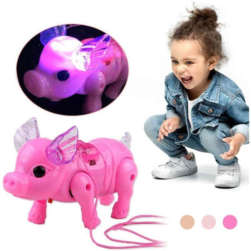 2019 New Pink Color Electric Walking Pig Toy With Light Musical Kids Funny Electronics Toy Children