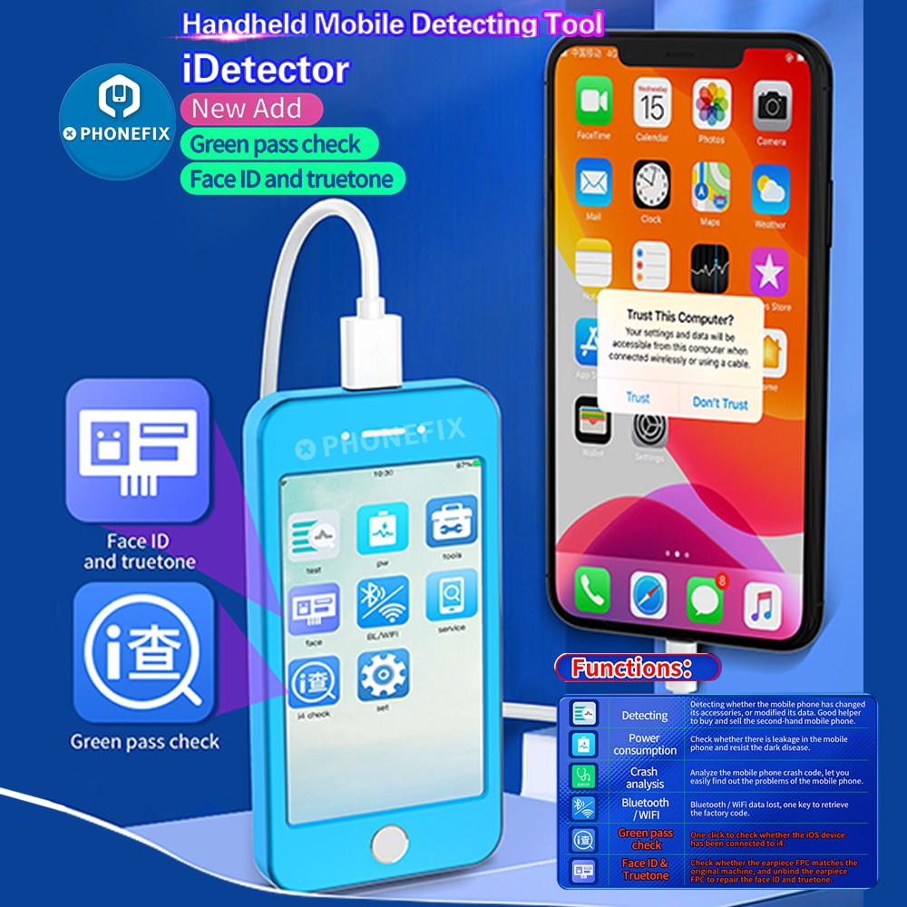 Review JCID iDetector Intelligent Phone Detector Mobile Phone Fault Fast Testing Support Full Series IOS Devices for iPhone iPad Detect