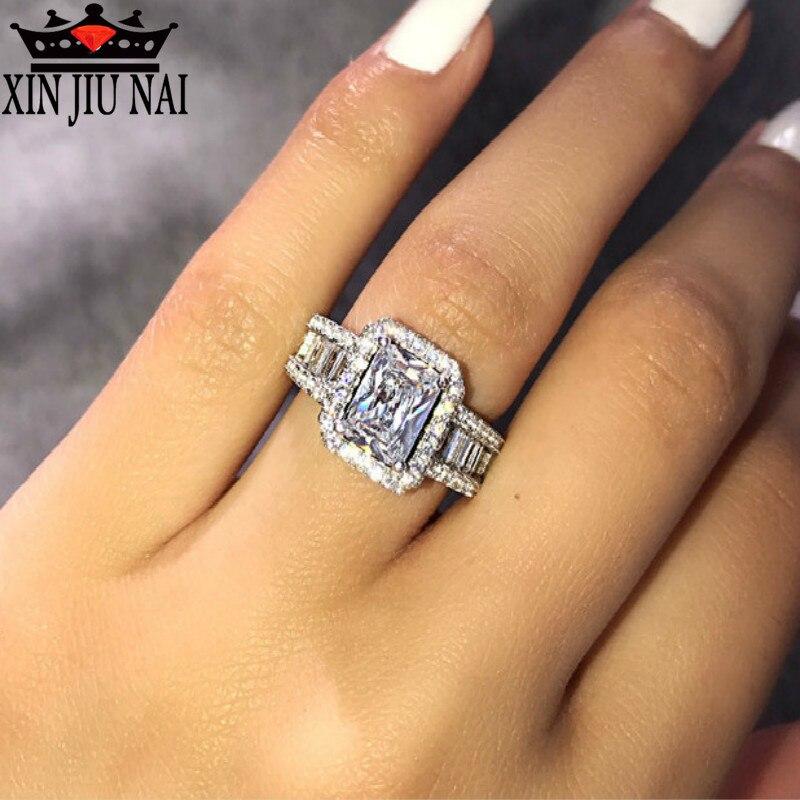 Anillo de boutique europea y americana s925, anillo de compromiso de circón incrustado en plata, joyería de fiesta para damas