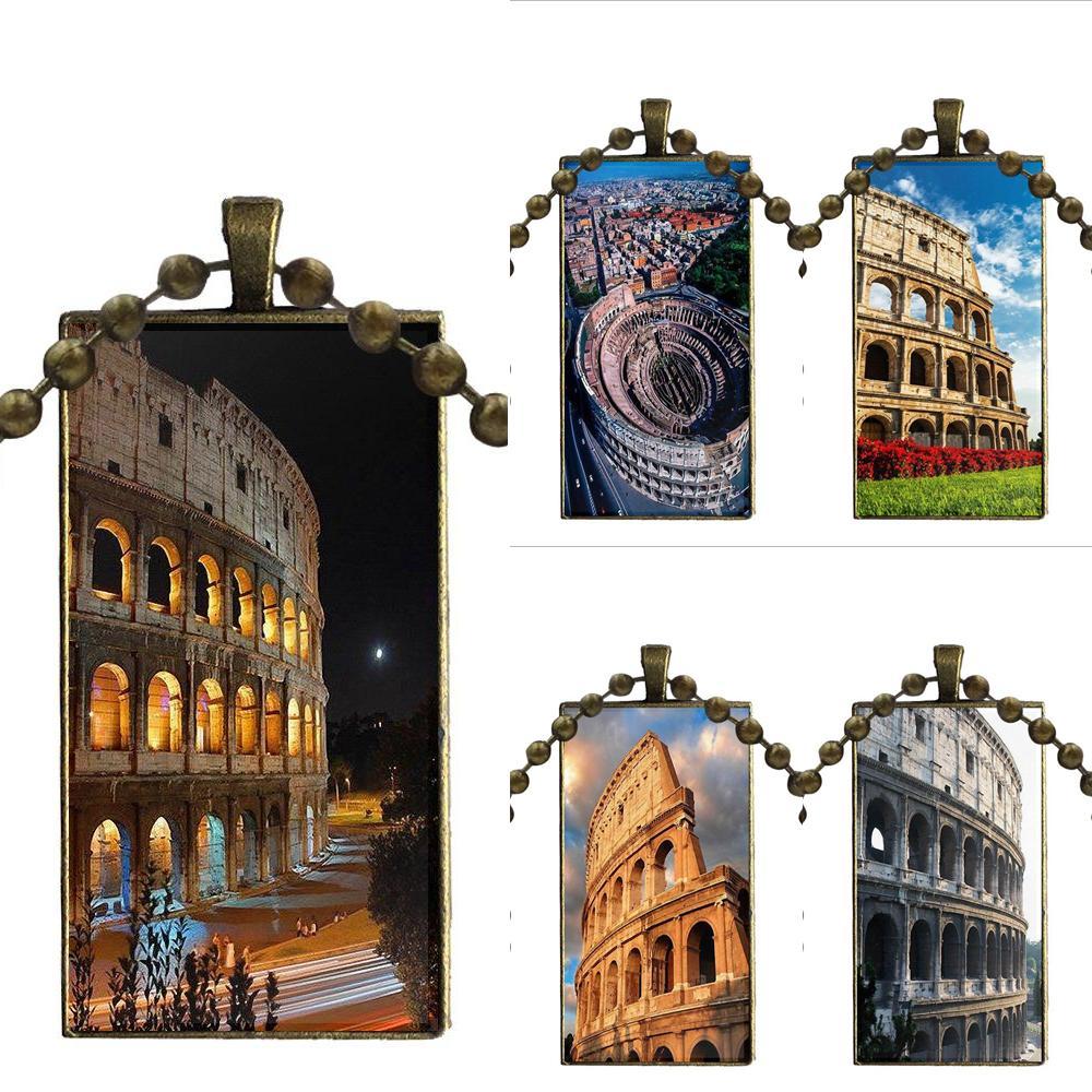 Cabujón colgante de vidrio Collar personalizado rectángulo moda Collar personalizado para mujeres niños Coliseo en Roma