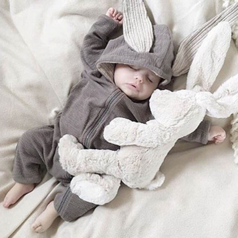 Spring Autumn Newborn Baby Clothes Bunny Baby Rompers Cotton Hoodie Newborn Girl Clothing Fashion In