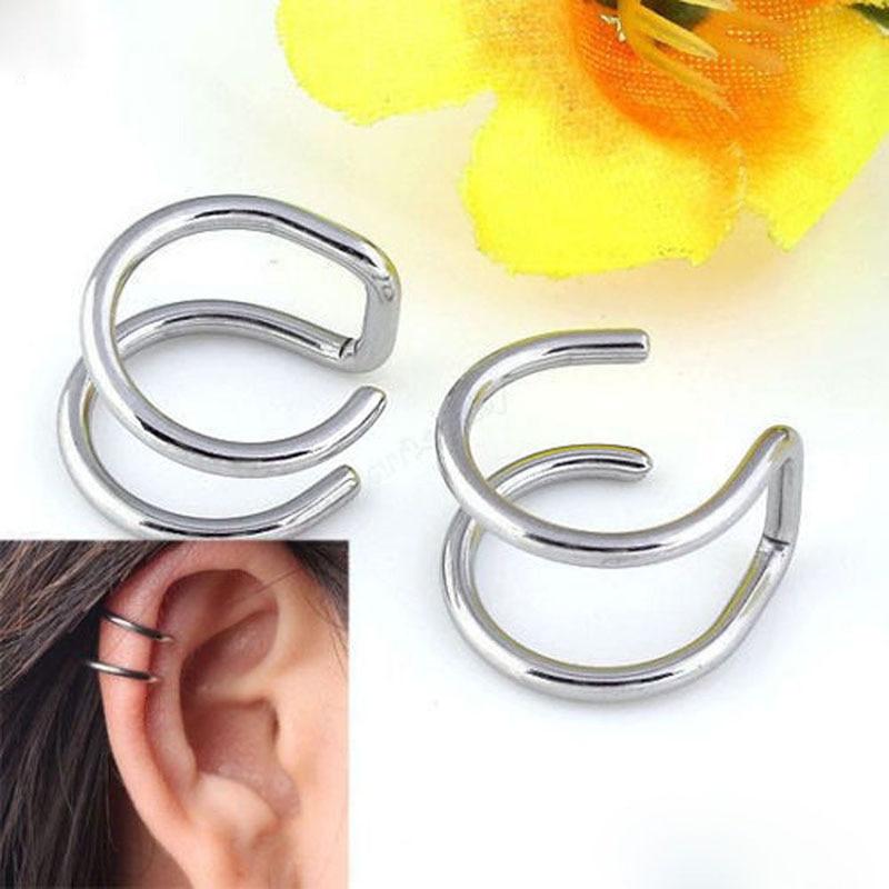 2 kos / komplet punk preprosti uhani za ušesne manšete za ženske - Modni nakit - Fotografija 4