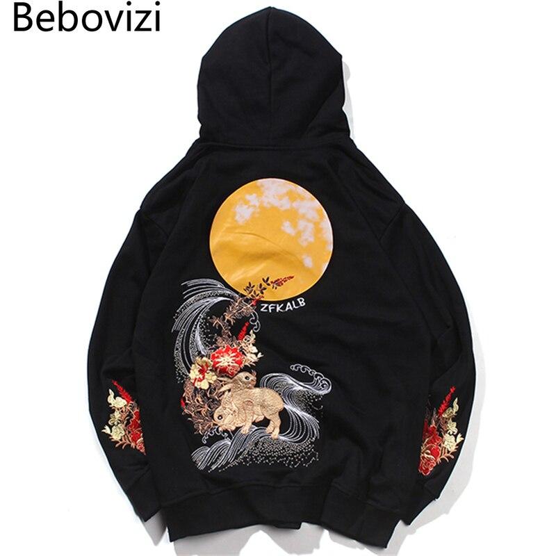 Bebovizi/уличная одежда в стиле хип-хоп; Harajuku; Толстовка с вышивкой Луны кролика; Мужская толстовка в китайском стиле; Хлопковый пуловер; Японска...