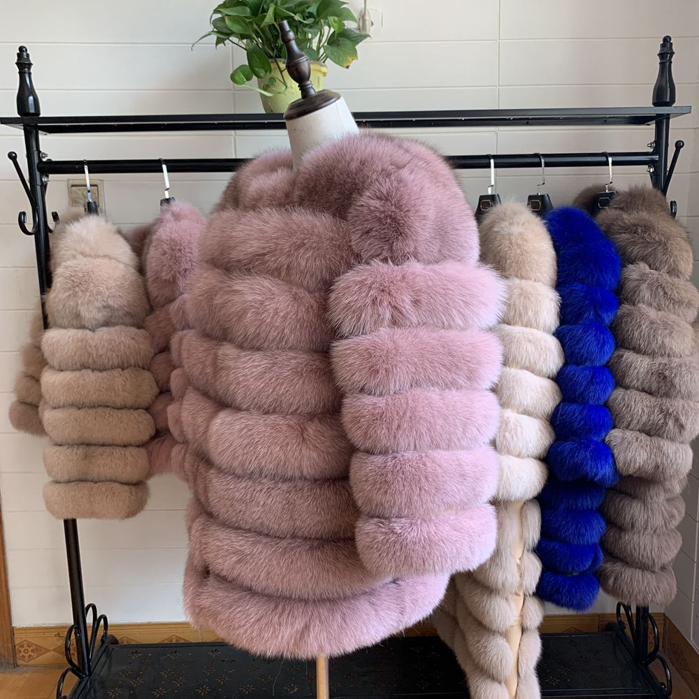 NEW 70CM Women Warm Real Fox Fur Coat Short Slim Winter Genuine Fur Jacket Fashion Outwear Luxury Natural Fox Fur Coat For