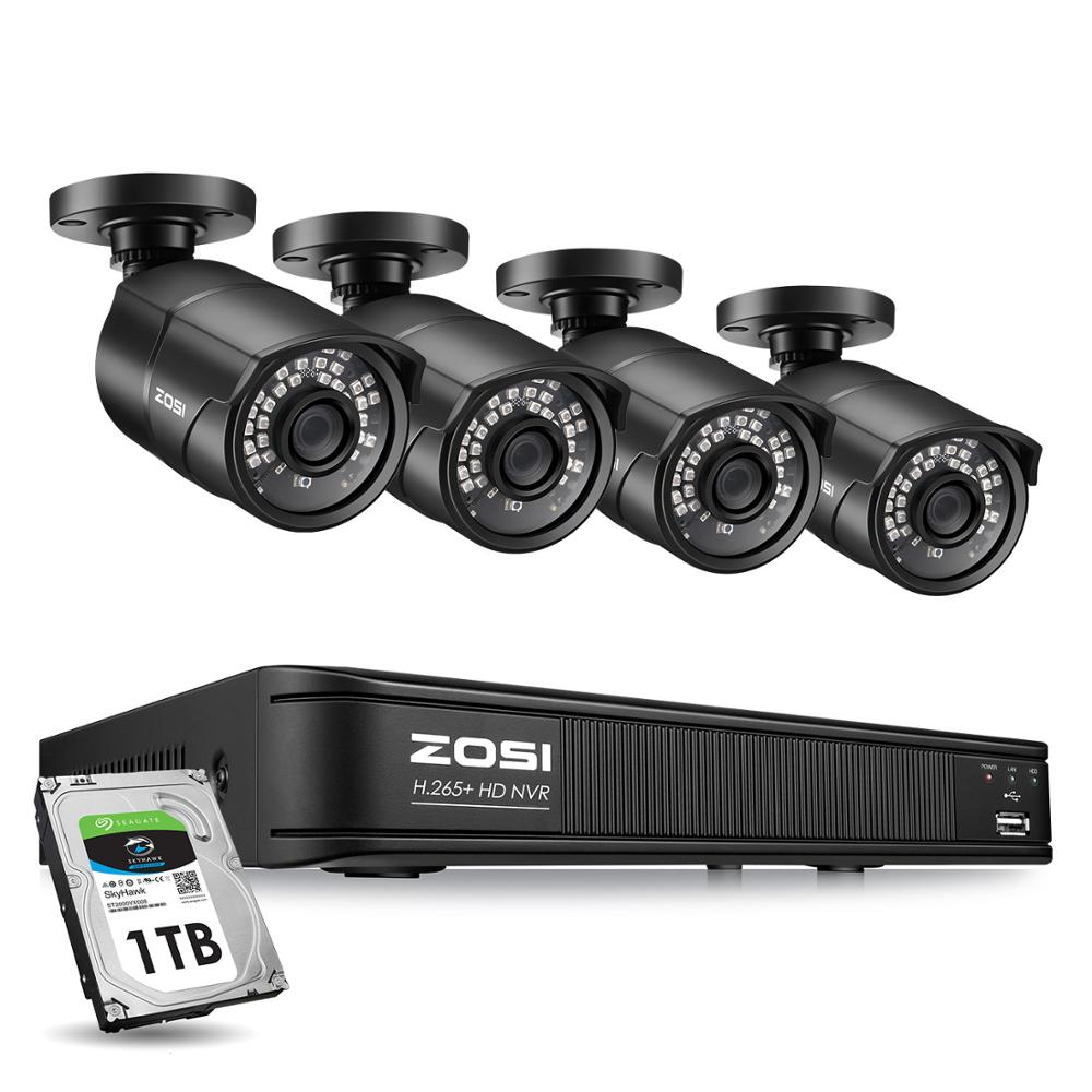 ZOSI-كاميرا مراقبة خارجية للرؤية الليلية ، مقاومة للماء ، IP ، 5 ميجابكسل ، 8CH ، IP ، h265 ، NVR ، مجموعة HDD