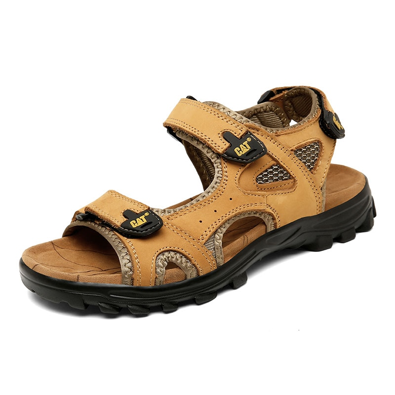 Summer high-end leather men's outdoor sports sandals, fashionable new beach men's shoes, young cat s