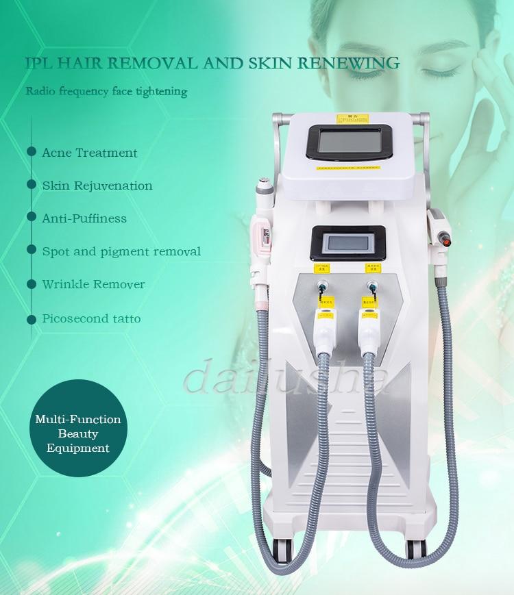 2021 آلة إزالة الشعر مع 3 مقابض OPT shr 4 في 1 IPL + OPT SHR + جهاز إزالة الوشم بالليزر إزالة الشعر ماكينة رسم الوشم التجميلي