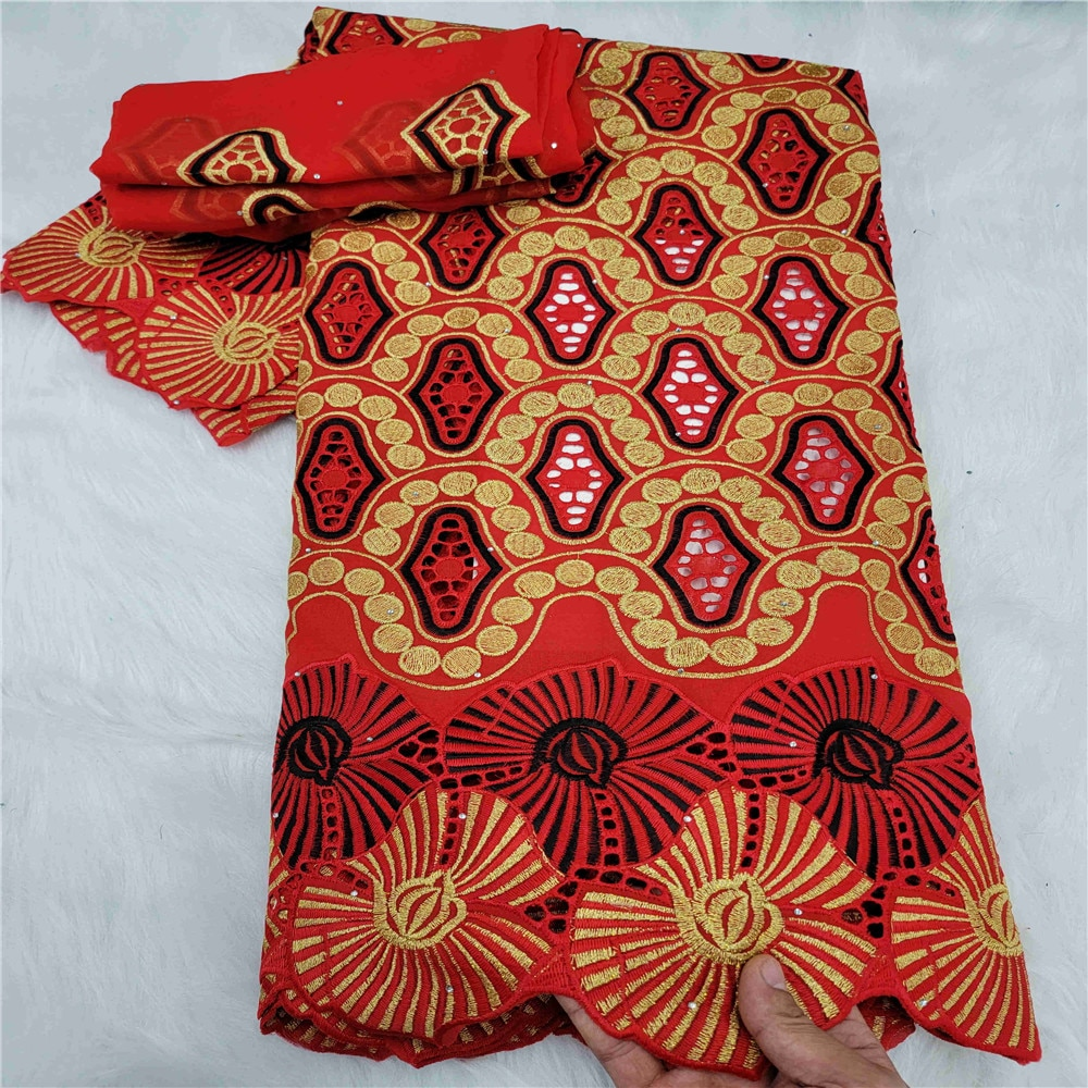 5+2 Yard With Scarf Fabric Latest with stones Embroidery African 100% cotton Swiss Voile Lace Popular Dubai Style -48