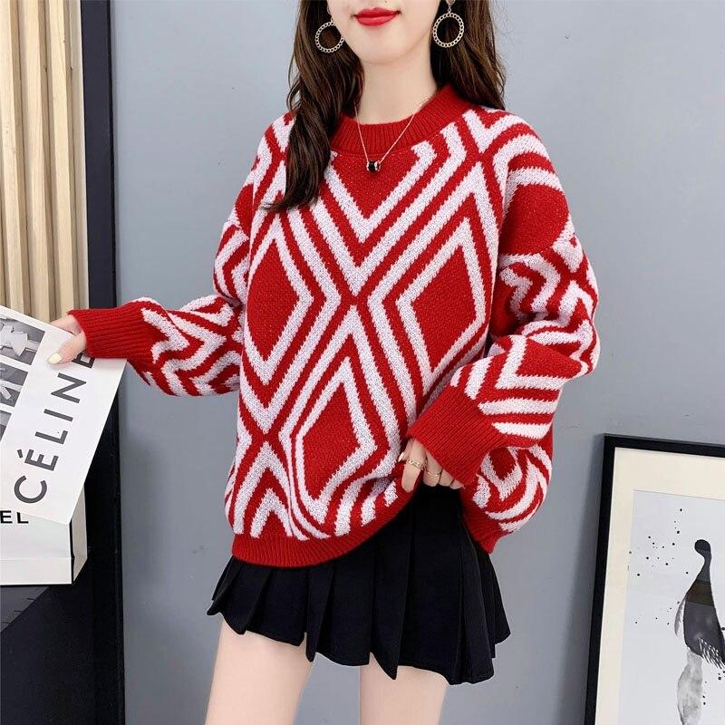 Женский пуловер, свитер, утепленный вязаный свитер, свободные полосатые женские свитера оверсайз