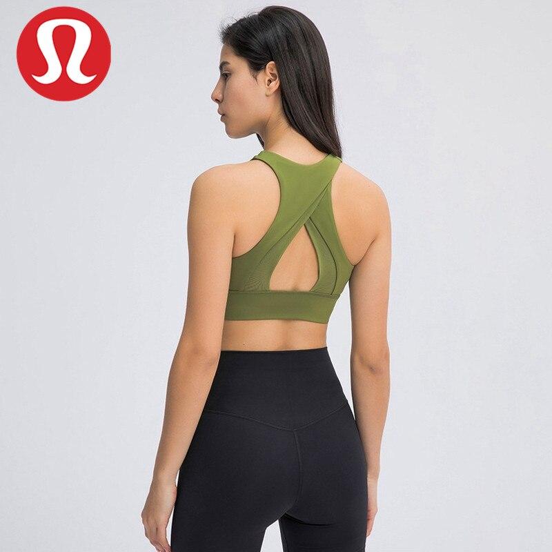 Lululemon-Sujetador deportivo de cuello alto para mujer, sostén deportivo de alta intensidad